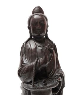 Chinese Huali Rosewood Carved Kwan Yin Statue VS359