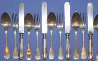 Antique Art Deco Art Krupp Berndorf Alpacca Set 18pcs x6 Knives Spoons