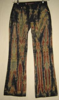 Krush USA Jeans Black Tie Dye Retro Hippie Flare Denim Jeans Unisex 30