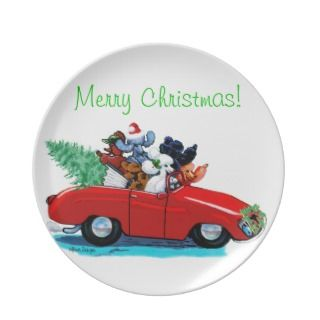 Poodles in Red Convertible Christmas Plate