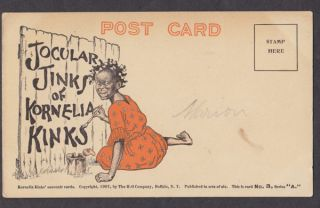 KORNELIA KINKS Black Americana Advertising Postcard Halloween 1907 #3