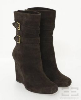 Kors Michael Kors Brown Suede Gold Buckle Boots New Size 6 5M