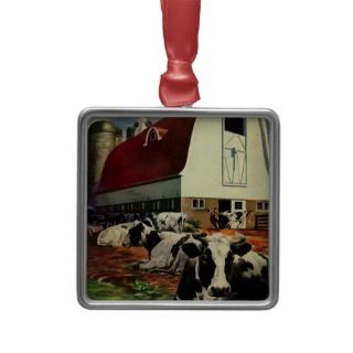 Vintage Business, Dairy Farm w Holstein Milk Cows Christmas Tree