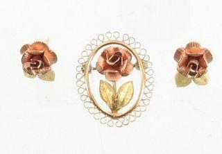 Vintage Krementz GF Gold Filled Rose Green Gold Pin Earrings Set Roses