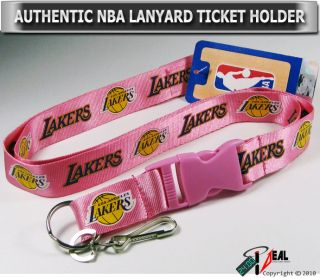 Los Angeles Lakers NBA Lanyard Key Chain ID Holder Pink