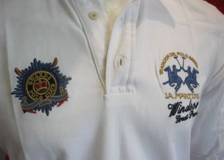 100 La Martina Mens Windsor Guards Polo Club Shirt White Size 2XL