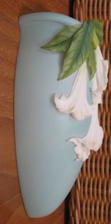 Brand New Angel Trumpet Datura on Teal Wall Vase Marble Cast Vase