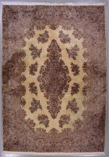 10x14 Light Gold Blue Karestan Kerman Oriental Wool Area Rug Carpet