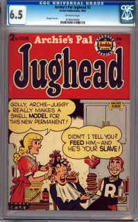 Archies PAL Jughead 2 CGC 6 5 Off White Pages Golden Age
