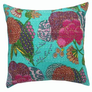 Kantha Quilted Cushion Cover Blue Floral Handmade Cotton Pillow Case