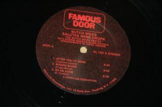 RARE Butch Miles Sextet Salutes Gene Krupa VG Vinyl Record Front Door