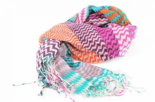 La Fiorentina Multicolored Sheered Zigzag Striped Fringe Wrap Scarf