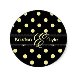 Yellow polka dots monogram stickers