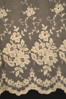 Pair Embroidered French Net Lace Curtain Panels 79 1 2 x 66