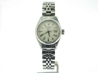 Ladies Rolex Stainless Steel Date Watch White Roman 6916 FV12A