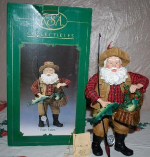 Kurt Adler Fabriche Christmas Santa Fish Tales Fisherman Mint in Box