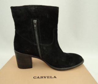 BN Carvela Kurt Geiger Black Leather Ankle Boots Heels Shoes UK8 EU41