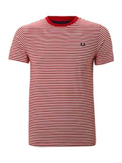 Fred Perry Striped crew neck T shirt Red