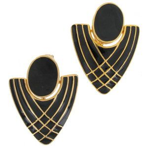 Clip On Earrings Gold Plated Enamel Geometric Doorknocker Vintage