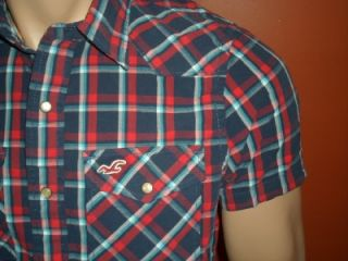 Hollister Mens La Mesa Sport Plaid Shirt Size M Short Sleeve NWT