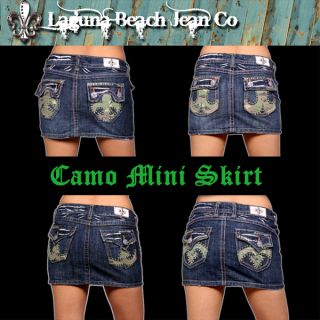 Laguna Beach Jeans Denim Mini Skirt Camo Crystals Basic