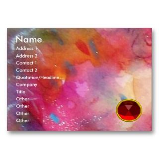 ABSTRACT RUBY,bright red gem blue pink Business Card