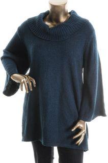 Karen Scott New Blue Cowl Neck Bell Sleeve Marled Tunic Sweater Plus