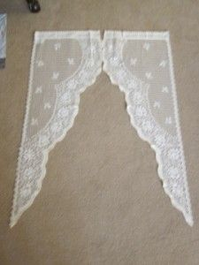 Original Pair of Vintage Style Cotton Lace Curtain Panels Sash