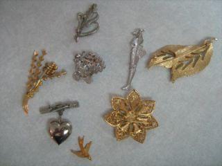 RETRO RHINESTONE JEWELLERY MIXED LOT, 8 BROOCHES , FLOWER, LADY, BIRD