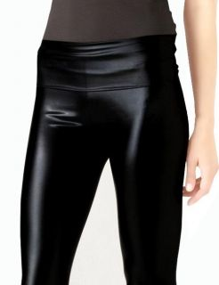 Womens Black Sexy Stretchy Leather Look High Waist Tights Pants
