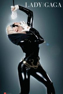 Lady Gaga Music Poster Live on Stage Leather Dress