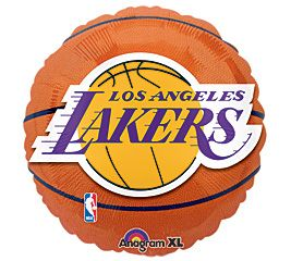 NBA 18 L.A. Lakers Basketball shape w/Logo Sports Party Mylar Foil