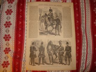 1854 Antique French Military Uniform Print Paris France