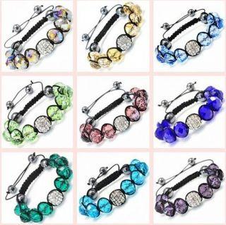 UK US Hot Beautiful Girl 12mm Crystal Beads Shamballa Bracelets Box