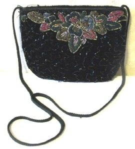 La Regale Black Beaded Evening Bag Purse