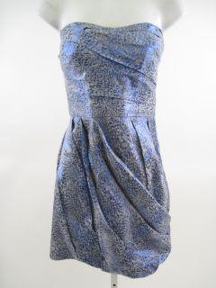 Lala Blue Gray Metallic Tiered Strapless Dress Size 12
