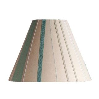 New 11 in Wide Striped Lamp Shade Cream White Blue Green Linen Fabric