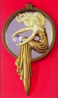 Art Nouveau Lady of The Lake Wall Mirror Plaque Deco