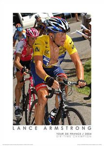 Lance Armstrong Climbing Forclaz vs Ullrich 2004 Tour de France Poster