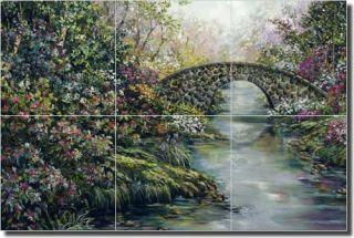 Cook Stone Bridge Landscape Art Ceramic Tile Mural Backsplash 18 x 12