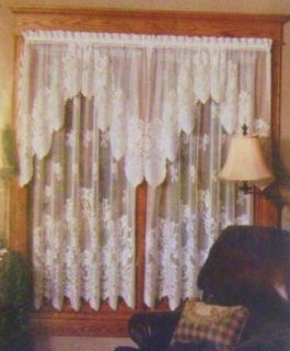 Ecru Heritage Lace Curtains Cleremont 60 x 30 Tier Pair or 36 x 22