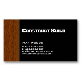 Construction Contractor Business Card Wood