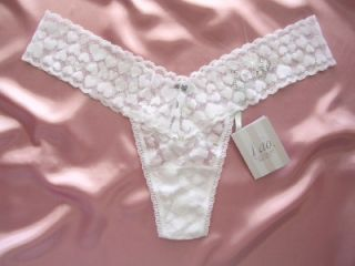 Victoria Secret The LaCie Bride No Show Heart Lace Thong O s Diamante