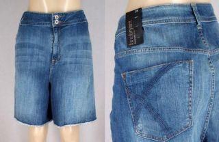 NWT $50 LANE BRYANT Cutoff Stretch Denim Jeans Shorts Medium Wash PLUS