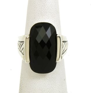 DAVID YURMAN STERLING SILVER & FACETED BLACK ONYX LADIES DRESS RING
