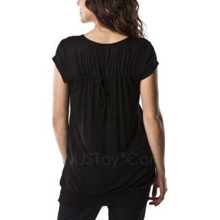 Liz Lange Maternity Short Sleeve Smocked Fashion Knit Top Black Ebony