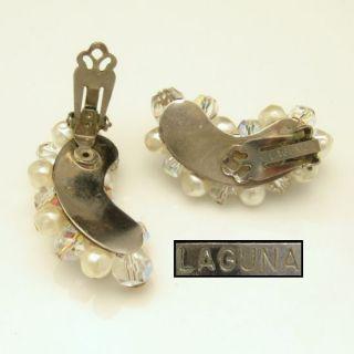 Laguna Large Vintage Crystal Faux Pearl Beads Clip Earrings Silvertone