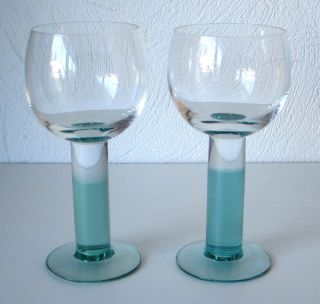 Iittala Mondo Green Wine Glasses 2 Kerttu Nurminen Excellent Condtion