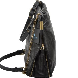 Lanvin RP 2200$ Black Quilted Leather Amalia Bucket Bag
