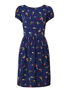 Therapy Bright bird print dress Blue